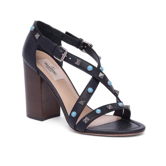 ab05e38aa63 Valentino Rockstud Rolling Block Heel Sandal 37